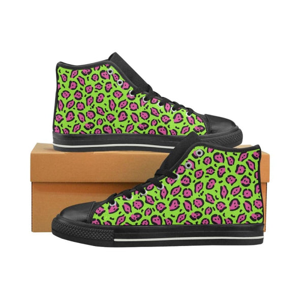 Womens Chucks High Top Sneakers - Custom Jaguar Pattern - US6 / Woman / Hot Pink Lime Jaguar - Footwear big cats chucks sneakers jaguars
