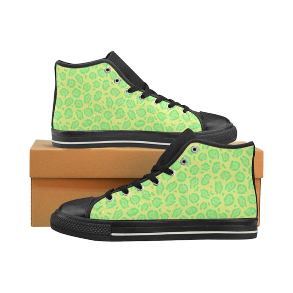 Womens Chucks High Top Sneakers - Custom Jaguar Pattern - US6 / Woman / Yellow Green Jaguar - Footwear big cats chucks sneakers jaguars