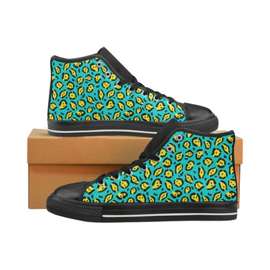 Womens Chucks High Top Sneakers - Custom Jaguar Pattern - US6 / Woman / Yellow Green Neon Jaguar - Footwear big cats chucks sneakers jaguars