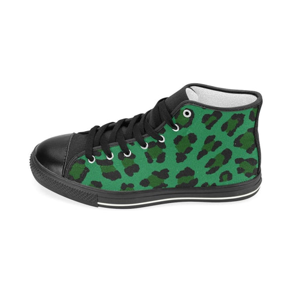 Womens Chucks High Top Sneakers - Custom Leopard Pattern - Footwear Big Cats Chucks Sneakers Leopards Sneakers