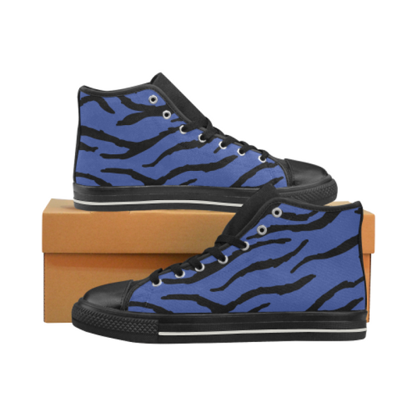 Womens Chucks High Top Sneakers - Custom Tiger Pattern - Blue Tiger / US6 - Footwear big cats chucks sneakers sneakers tigers