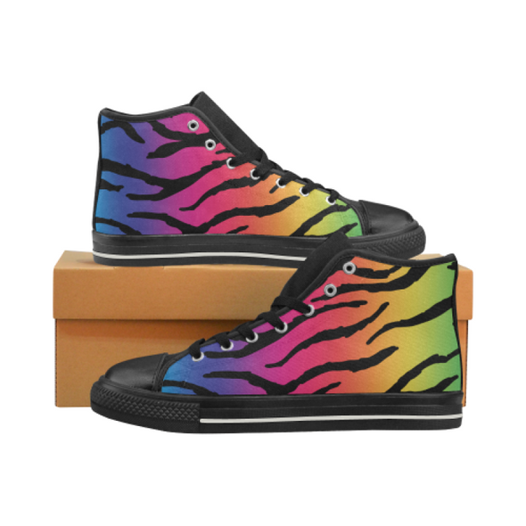 Womens Chucks High Top Sneakers - Custom Tiger Pattern - Rainbow Tiger / US6 - Footwear big cats chucks sneakers sneakers tigers