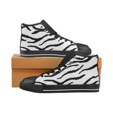 Womens Chucks High Top Sneakers - Custom Tiger Pattern - White Tiger / US6 - Footwear big cats chucks sneakers sneakers tigers