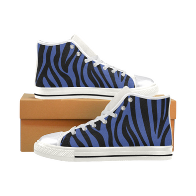 Womens Chucks High Top Sneakers - Custom Zebra Pattern w/White Background - Blue Zebra / US6 - Footwear chucks sneakers sneakers zebras