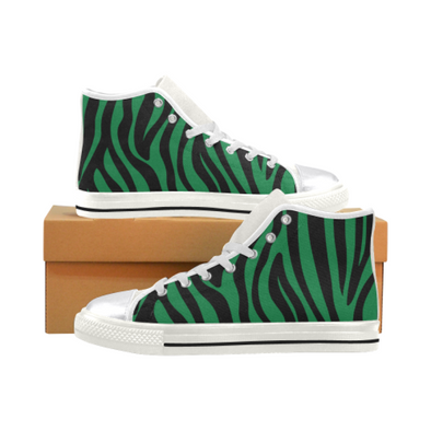 Womens Chucks High Top Sneakers - Custom Zebra Pattern w/White Background - Green Zebra / US6 - Footwear chucks sneakers sneakers zebras