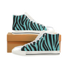 Womens Chucks High Top Sneakers - Custom Zebra Pattern w/White Background - Turquoise Zebra / US6 - Footwear chucks sneakers sneakers zebras
