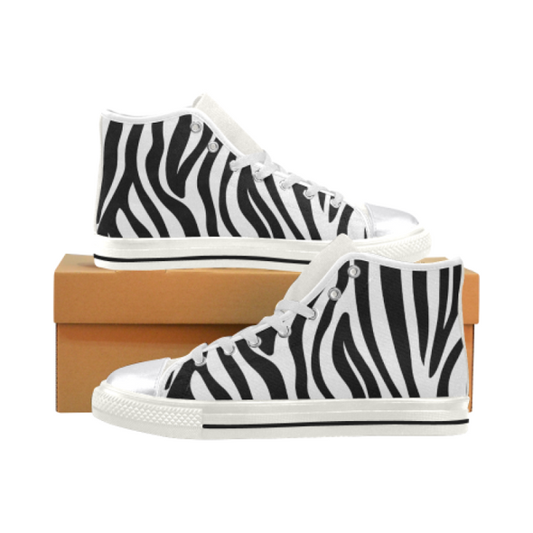 Womens Chucks High Top Sneakers - Custom Zebra Pattern w/White Background - White Zebra / US6 - Footwear chucks sneakers sneakers zebras