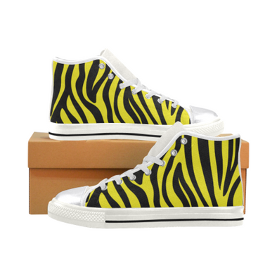 Womens Chucks High Top Sneakers - Custom Zebra Pattern w/White Background - Yellow Zebra / US6 - Footwear chucks sneakers sneakers zebras