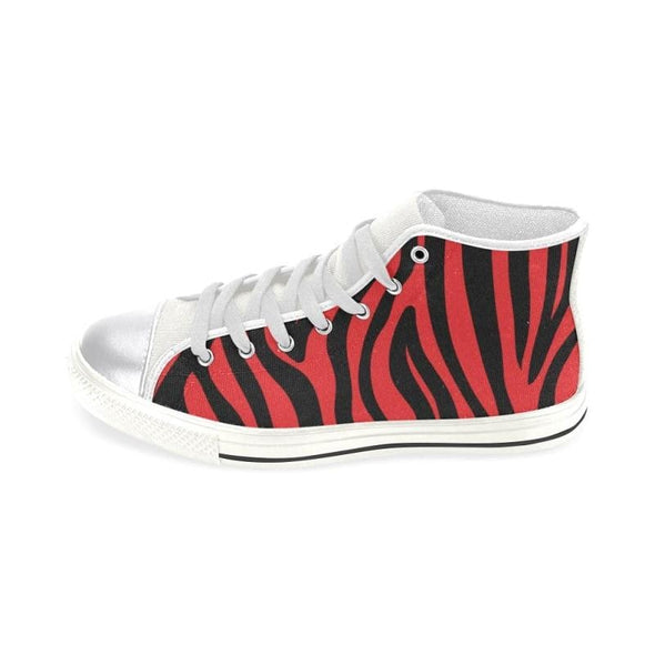 Womens Chucks High Top Sneakers - Custom Zebra Pattern w/White Background - Footwear chucks sneakers sneakers zebras