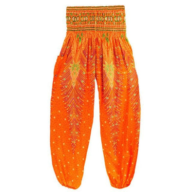 Womens Harem Yoga Pants - Bohemian Indian Pattern - 12 Designs - Orange - Clothing Bohemian Indian Yoga Gear Yoga Pants