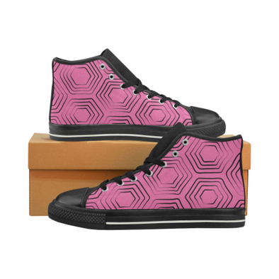 Womens Hightop Canvas Chucks Sneakers - Custom Turtle Pattern - Hot Pink Turtle / US6 - Footwear chucks sneakers sneakers turtles
