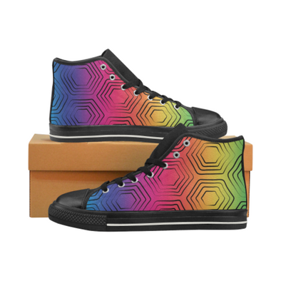 Womens Hightop Canvas Chucks Sneakers - Custom Turtle Pattern - Rainbow Turtle / US6 - Footwear chucks sneakers sneakers turtles