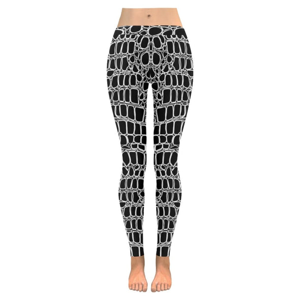 Womens Premium Leggings - Custom Black & White Animal Patterns - Black & White Alligator / S - Clothing hot new items leggings yoga gear