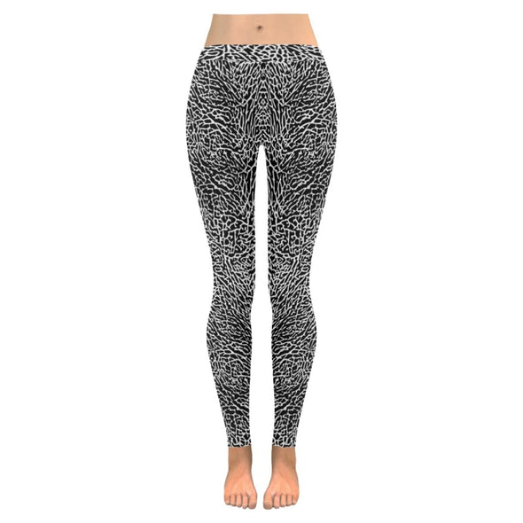 Womens Premium Leggings - Custom Black & White Animal Patterns - Black & White Elephant / S - Clothing hot new items leggings yoga gear