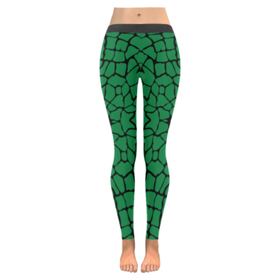 Womens Premium Leggings - Custom Giraffe Pattern W/ Black Background - Green Giraffe / Xxs - Clothing Giraffes Leggings Yoga Gear