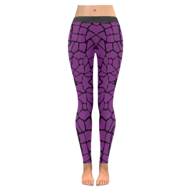 Womens Premium Leggings - Custom Giraffe Pattern W/ Black Background - Purple Giraffe / Xxs - Clothing Giraffes Leggings Yoga Gear