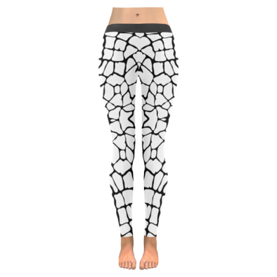 Womens Premium Leggings - Custom Giraffe Pattern W/ Black Background - White Giraffe / Xxs - Clothing Giraffes Leggings Yoga Gear