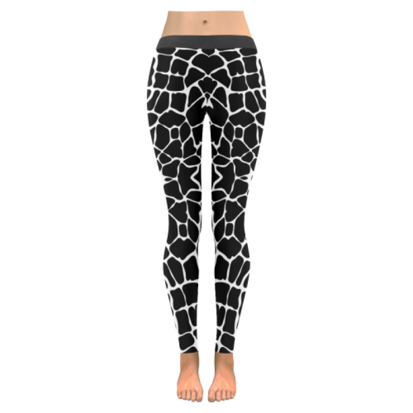 Womens Premium Leggings - Custom Giraffe Pattern W/ White Background - Black Giraffe / Xxs - Clothing Giraffes Leggings Yoga Gear