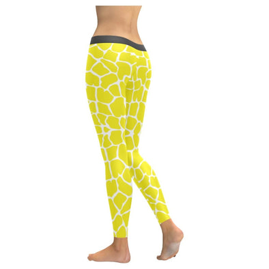 Womens Premium Leggings - Custom Giraffe Pattern W/ White Background - Clothing Giraffes Leggings Yoga Gear