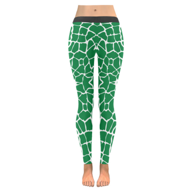 Womens Premium Leggings - Custom Giraffe Pattern W/ White Background - Green Giraffe / Xxs - Clothing Giraffes Leggings Yoga Gear
