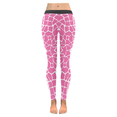 Womens Premium Leggings - Custom Giraffe Pattern W/ White Background - Hot Pink Giraffe / Xxs - Clothing Giraffes Leggings Yoga Gear