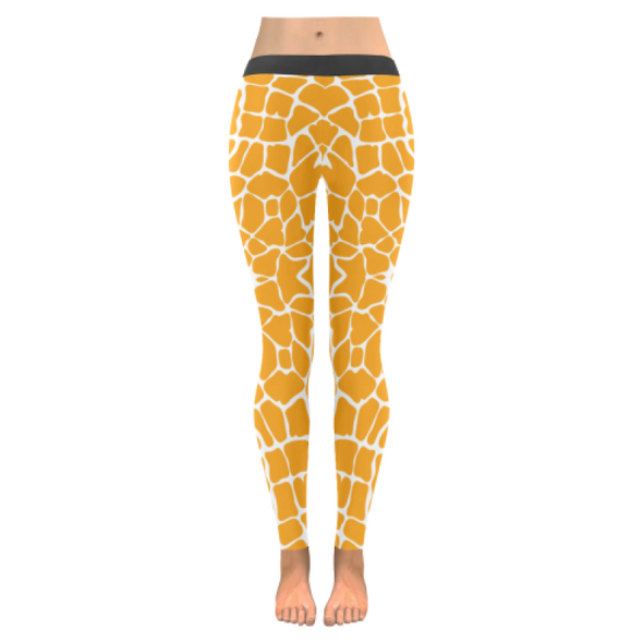 Womens Premium Leggings - Custom Giraffe Pattern W/ White Background - Orange Giraffe / Xxs - Clothing Giraffes Leggings Yoga Gear