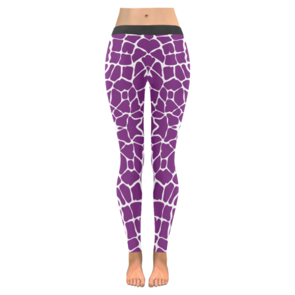 Womens Premium Leggings - Custom Giraffe Pattern W/ White Background - Purple Giraffe / Xxs - Clothing Giraffes Leggings Yoga Gear