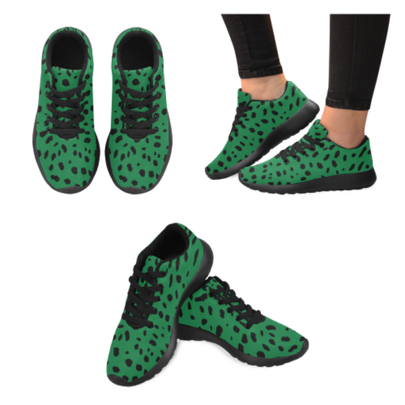 Womens Running Sneakers - Custom Cheetah Pattern - Green Cheetah / Us6 - Footwear Big Cats Cheetahs Sneakers