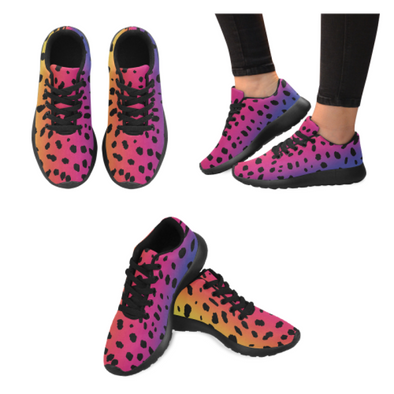 Womens Running Sneakers - Custom Cheetah Pattern - Rainbow Cheetah / Us6 - Footwear Big Cats Cheetahs Sneakers