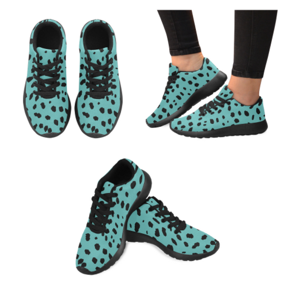 Womens Running Sneakers - Custom Cheetah Pattern - Turquoise Cheetah / Us6 - Footwear Big Cats Cheetahs Sneakers