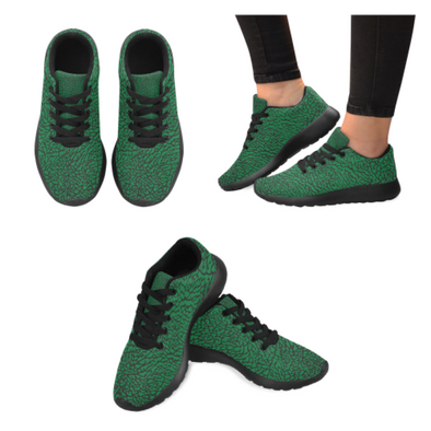 Womens Running Sneakers - Custom Elephant Pattern - Green Elephant / Us6 - Footwear Elephants Sneakers