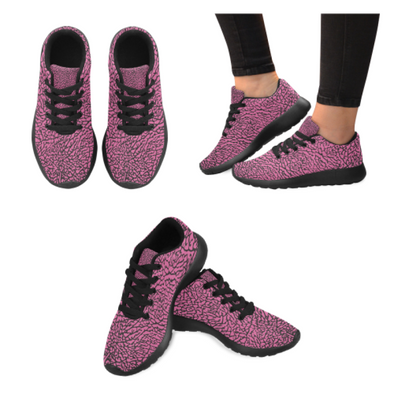 Womens Running Sneakers - Custom Elephant Pattern - Hot Pink Elephant / Us6 - Footwear Elephants Sneakers