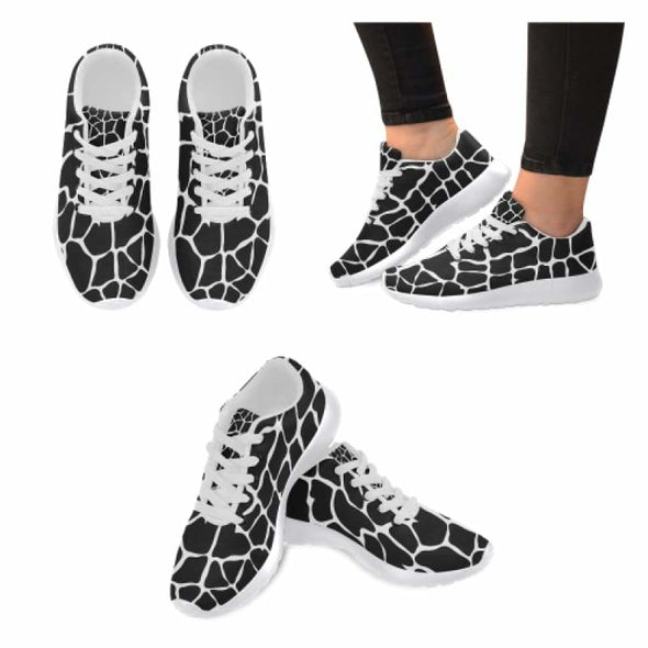 Womens Running Sneakers - Custom Giraffe Pattern w/ White Background - Black Giraffe / US6 - Footwear giraffes sneakers