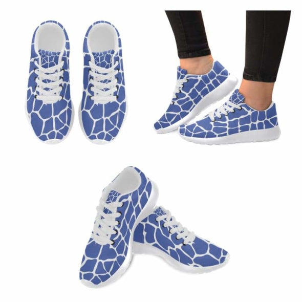 Womens Running Sneakers - Custom Giraffe Pattern w/ White Background - Blue Giraffe / US6 - Footwear giraffes sneakers