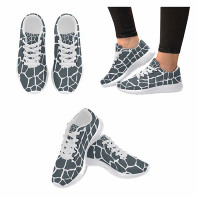Womens Running Sneakers - Custom Giraffe Pattern w/ White Background - Charcoal Giraffe / US6 - Footwear giraffes sneakers