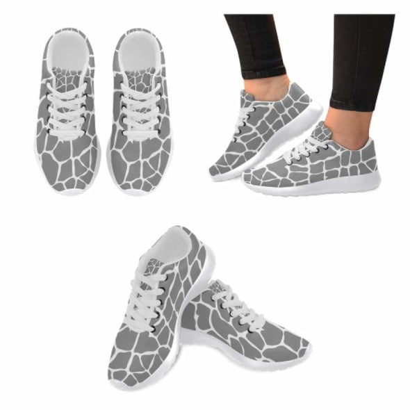Womens Running Sneakers - Custom Giraffe Pattern w/ White Background - Gray Giraffe / US6 - Footwear giraffes sneakers