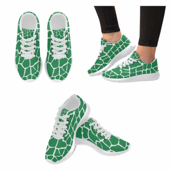 Womens Running Sneakers - Custom Giraffe Pattern w/ White Background - Green Giraffe / US6 - Footwear giraffes sneakers