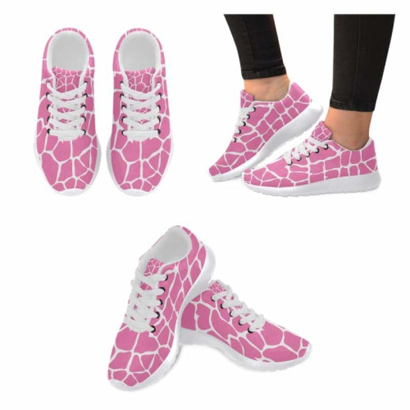 Womens Running Sneakers - Custom Giraffe Pattern w/ White Background - Hot Pink Giraffe / US6 - Footwear giraffes sneakers