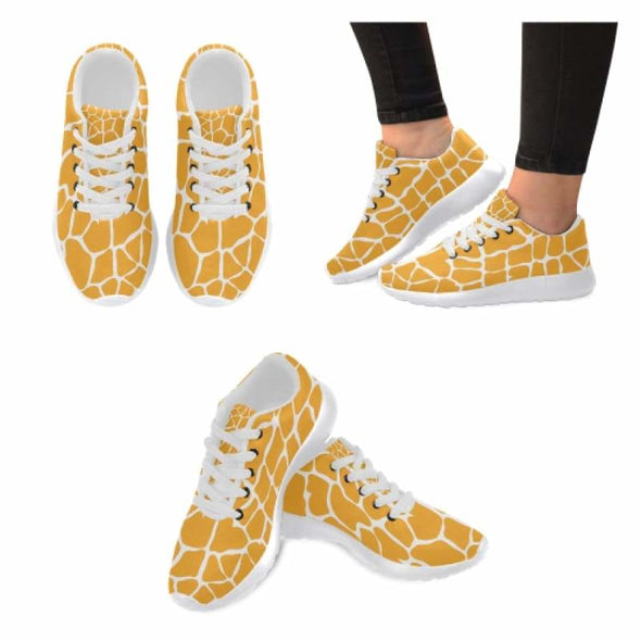Womens Running Sneakers - Custom Giraffe Pattern w/ White Background - Orange Giraffe / US6 - Footwear giraffes sneakers