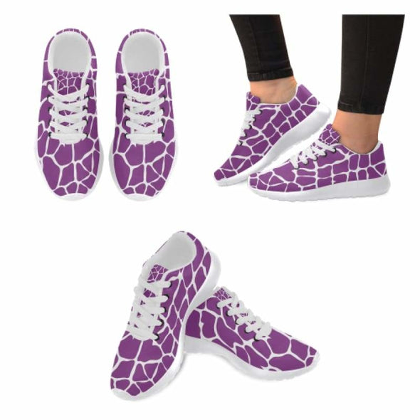 Womens Running Sneakers - Custom Giraffe Pattern w/ White Background - Giraffe Pattern - Purple Womens Running Shoes (Model 020) / US6 -