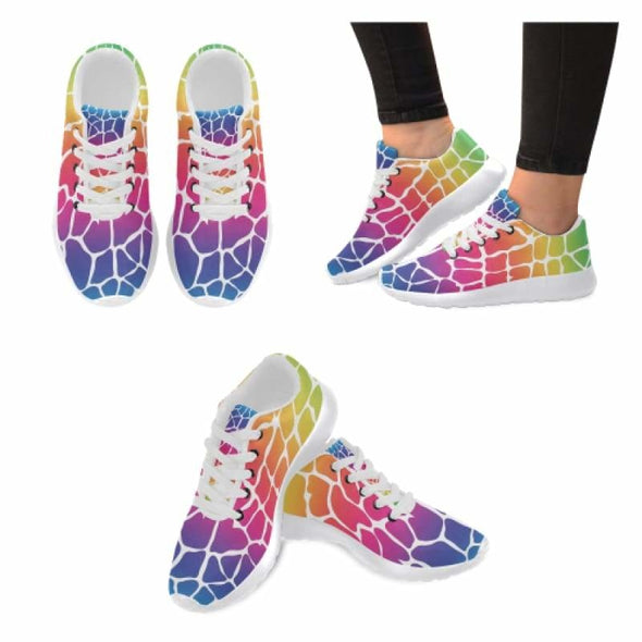 Womens Running Sneakers - Custom Giraffe Pattern w/ White Background - Rainbow Giraffe / US6 - Footwear giraffes sneakers