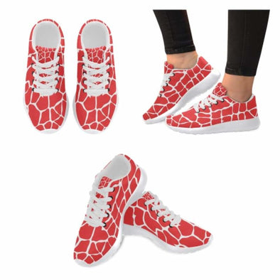 Womens Running Sneakers - Custom Giraffe Pattern w/ White Background - Red Giraffe / US6 - Footwear giraffes sneakers