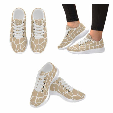 Womens Running Sneakers - Custom Giraffe Pattern w/ White Background - Tan Giraffe / US6 - Footwear giraffes sneakers