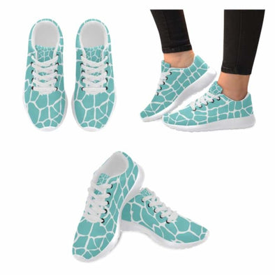 Womens Running Sneakers - Custom Giraffe Pattern w/ White Background - Turquoise Giraffe / US6 - Footwear giraffes sneakers