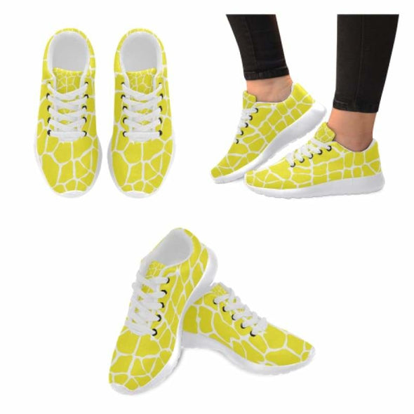Womens Running Sneakers - Custom Giraffe Pattern w/ White Background - Yellow Giraffe / US6 - Footwear giraffes sneakers