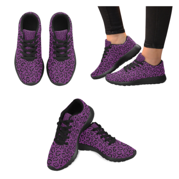Womens Running Sneakers - Custom Jaguar Pattern - Purple Jaguar / Us6 - Footwear Big Cats Jaguars Sneakers