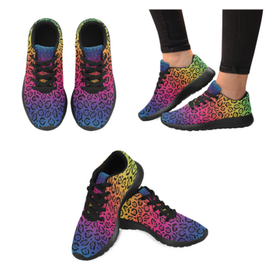 Womens Running Sneakers - Custom Jaguar Pattern - Rainbow Jaguar / Us6 - Footwear Big Cats Jaguars Sneakers