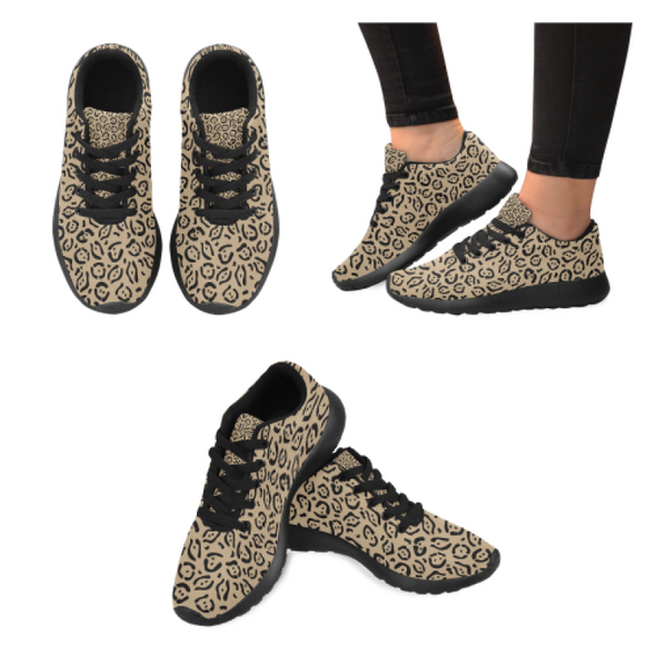 Womens Running Sneakers - Custom Jaguar Pattern - Tan Jaguar / Us6 - Footwear Big Cats Jaguars Sneakers