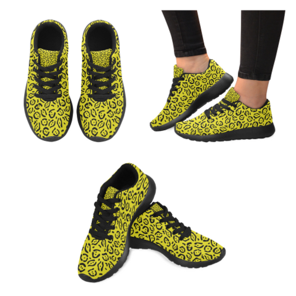 Womens Running Sneakers - Custom Jaguar Pattern - Yellow Jaguar / Us6 - Footwear Big Cats Jaguars Sneakers