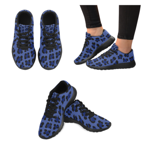 Womens Running Sneakers - Custom Leopard Pattern - Blue Leopard / Us6 - Footwear Big Cats Leopards Sneakers
